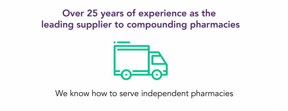 Over 25 years of experience as the leading supplier to compounding pharmacies